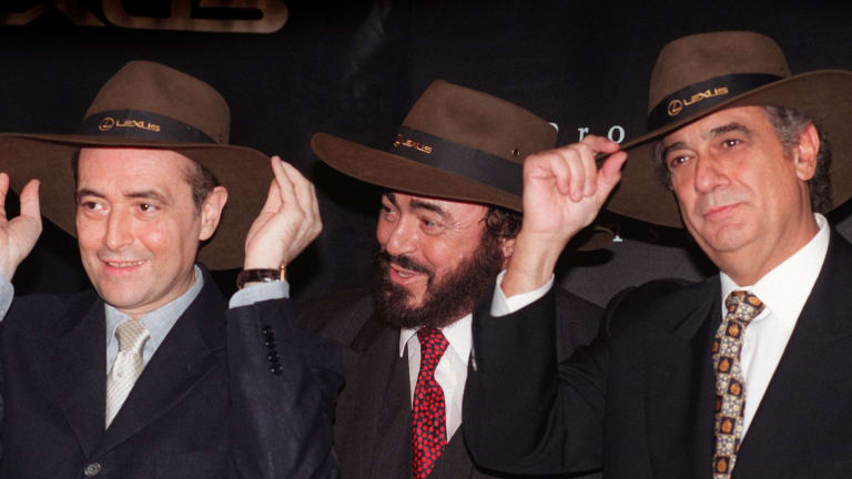 The Three Tenors at their press conference before their concert at the MCG in 1997. From left: Jose Carreras, Luciano Pavarotti and Placido Domingo.