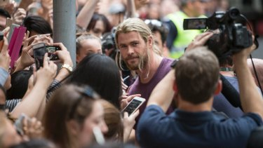 Sugar hit: Chris Hemsworth meets fans while filming Thor in Brisbane in August 2016.