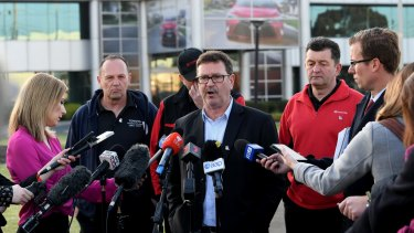 AMWU's Dave Smith at Toyota at its closure earlier in October.
