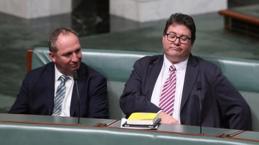 Deputy Prime Minister Barnaby Joyce and George Christensen during the second reading of the Banking and Financial Services Commission of Inquiry Bill.