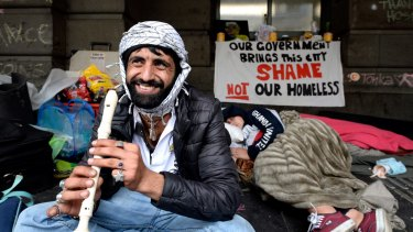 Bangash Hussain is from Pakistan and is homeless on Flinders Street.