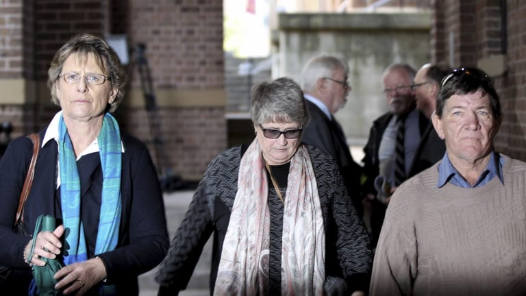 Chris Noble's mother, Liz Noble, left, and supporters outside court on Friday.