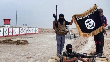 IS fighters pose with a Jihadist flag in the northern Iraqi province of Salahuddin.
