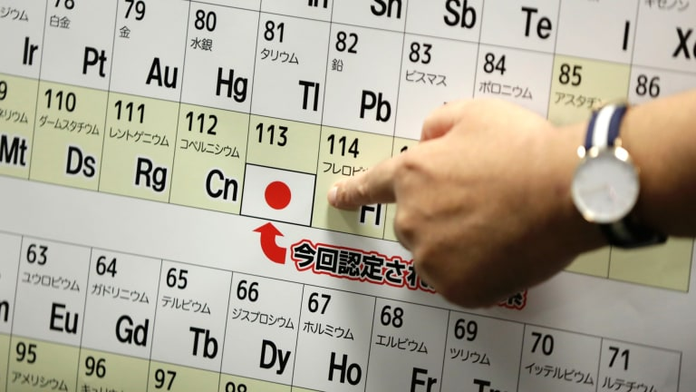 Nihonium, symbol Nh, for element 113 was discovered in Japan. It's the first element to be discovered in an Asian country.