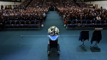 A sea of blue at the officer's funeral in Toowoomba.