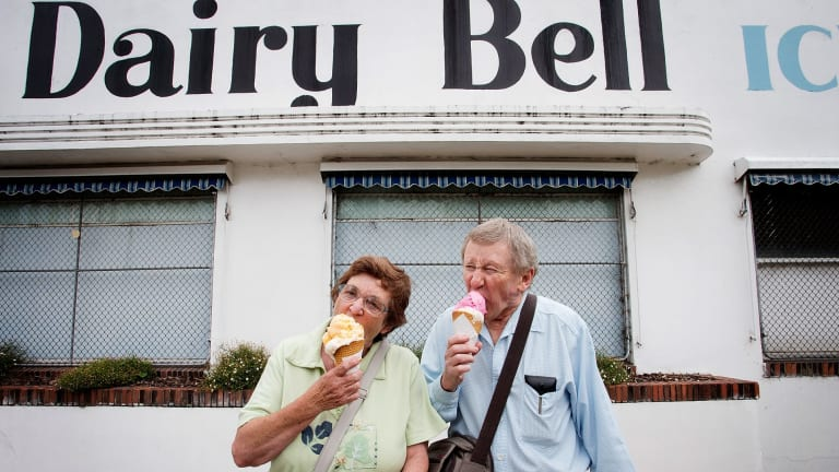 Forty licks: Long-time customers Lorraine and Graham Browne will be among those relieved to hear the ice cream maker has been saved.