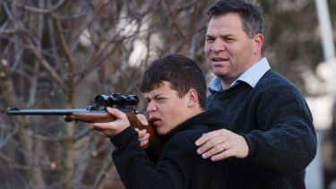 Shooters, Fishers and Farmers Party member, Phil Donato with 13-year-old son Sean on their property outside Orange.