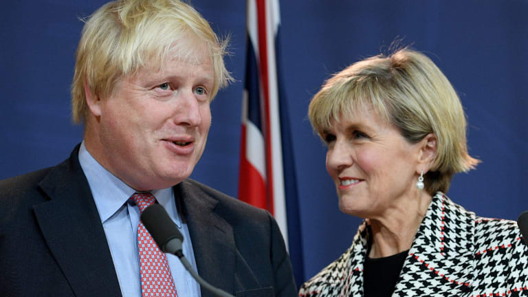"""Boris Johnson and Julie Bishop """"discussed every issue under the sun""""."""
