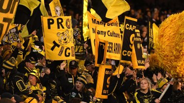 The Tiger Army: Richmond fans show their joy in the qualifying final win over Geelong.