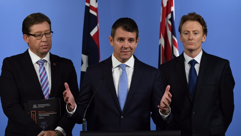 NSW Premier Mike Baird, Deputy Premier Troy Grant with Steve Coleman, CEO of RSPCA NSW, announcing the ban on Thursday.