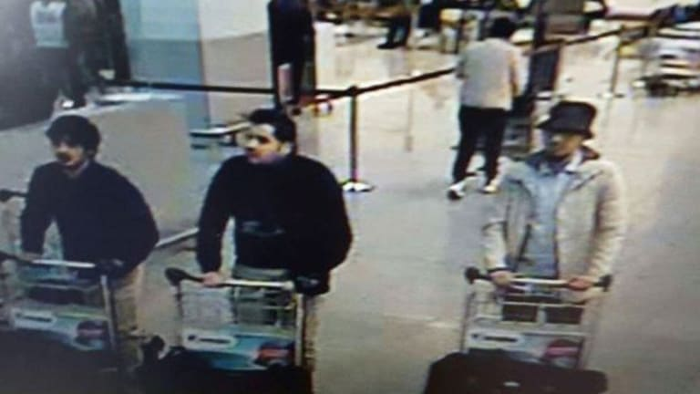 Three men blamed for the attacks at Belgium's Zaventem Airport. The man on the right did not detonate his explosives.