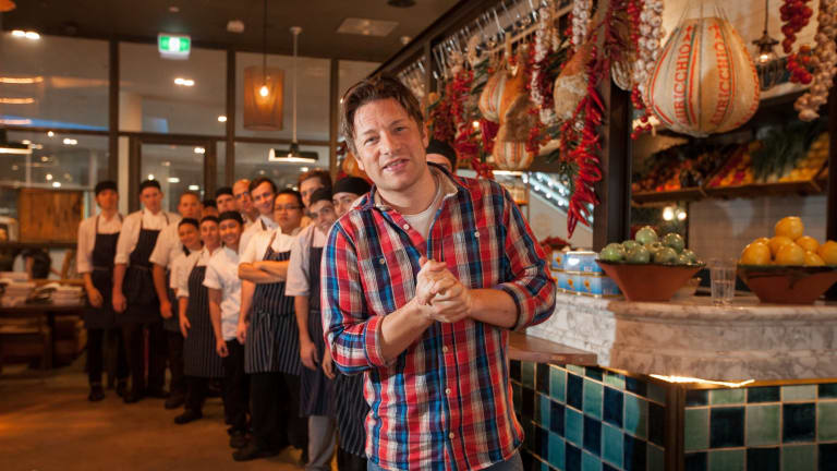 Jamie Oliver visited his Italian restaurant in Canberra in 2014.