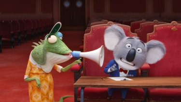 Miss Crawly (voiced by Garth Jennings) and Buster Moon (Matthew McConaughey) in Sing.