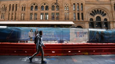 The construction zone outside the Queen Victoria Building on George Street.