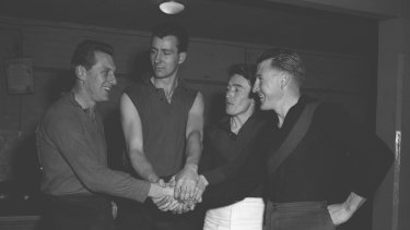 Dynamic Demons: (From left) Don Williams, Bob Johnson, Geoff Tunbridge and John Beckwith in 1958.