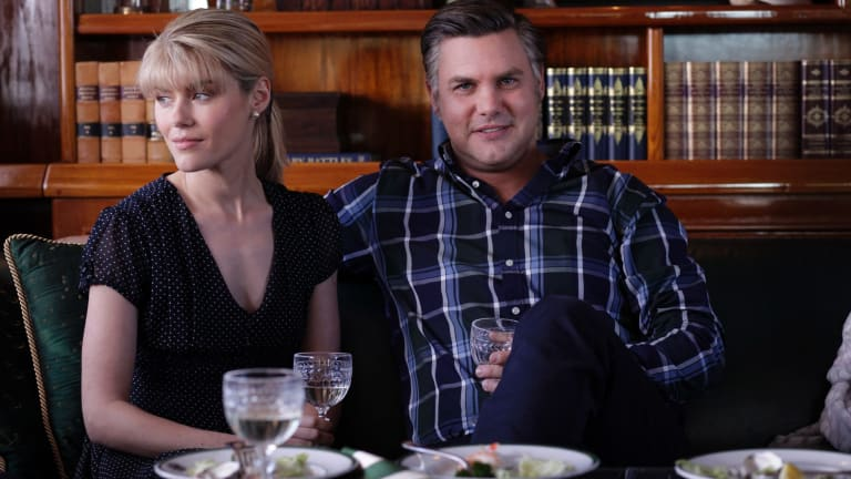 The affair: Rachael Taylor as Diana Bliss with Ben Mingay as Alan Bond in <i>House of Bond</i>.