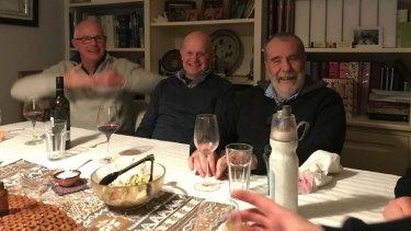 Michael Gordon, John Silvester and Martin Flanagan at dinner in 2017