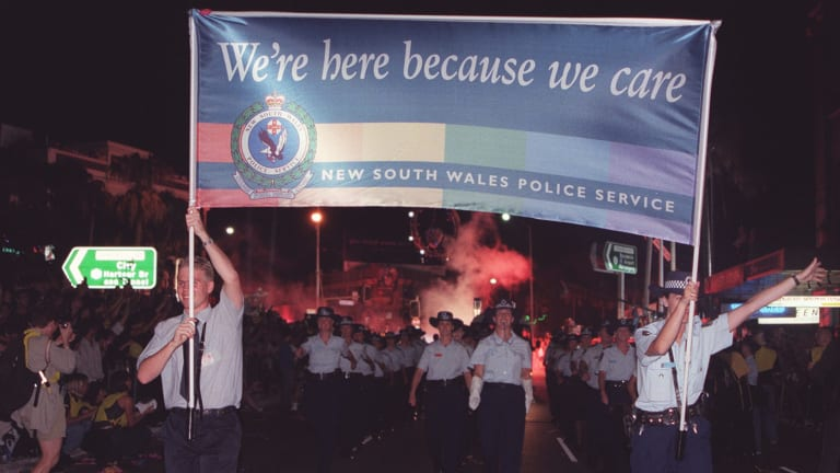 New South Wales police, such as these pictured in 1998, have been marching in Sydney's Mardi Gras for many years.