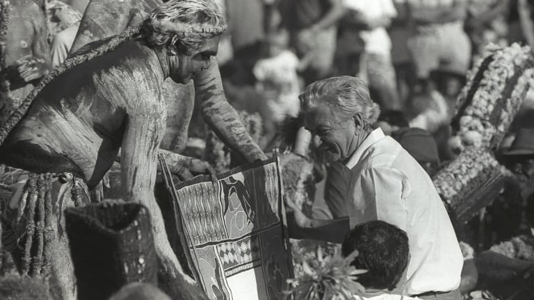 Prime Minister Bob Hawke receives the Barunga statement from Galarrwuy Yunupingu in Arnhem Land in Northern Territory in 1988.