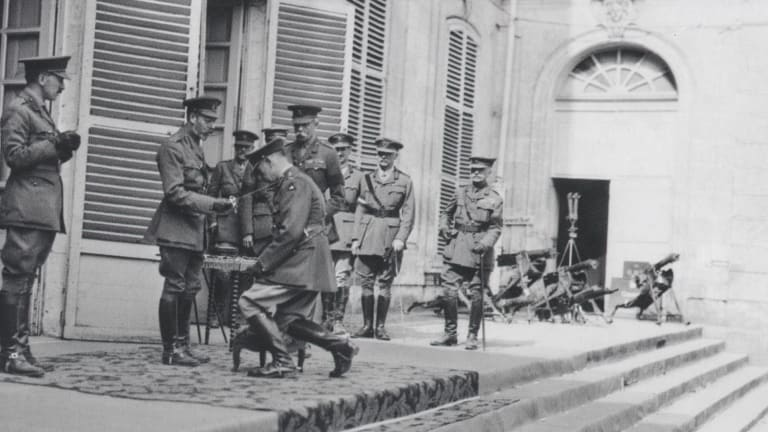 King George V, knighting Lieutenant General Sir John Monash, at the Corps Headquarters in the Chateau de Bertangles.
