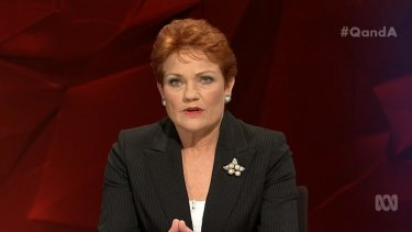 Pauline Hanson, the leader of the One Nation Party, on the ABC's <i>Q&A</i> on July 18.