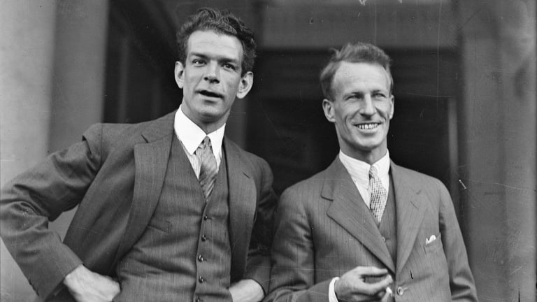 Sir Charles Kingsford Smith (right) with fellow aviator Charles Ulm, New South Wales, ca. 1928