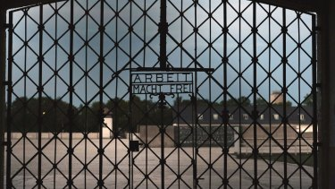The entrance gate of the former concentration camp in Dachau, Germany.