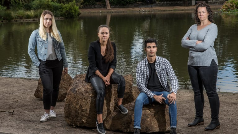 Julia, Janelle, Shane and Kirsten - some of the staff at Paul Sadler Swimland Essendon who have banded together after discovering they had been underpaid by the company.