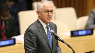 Prime Minister Malcolm Turnbull speaks during the Summit for Refugees and Migrants at UN headquarters.