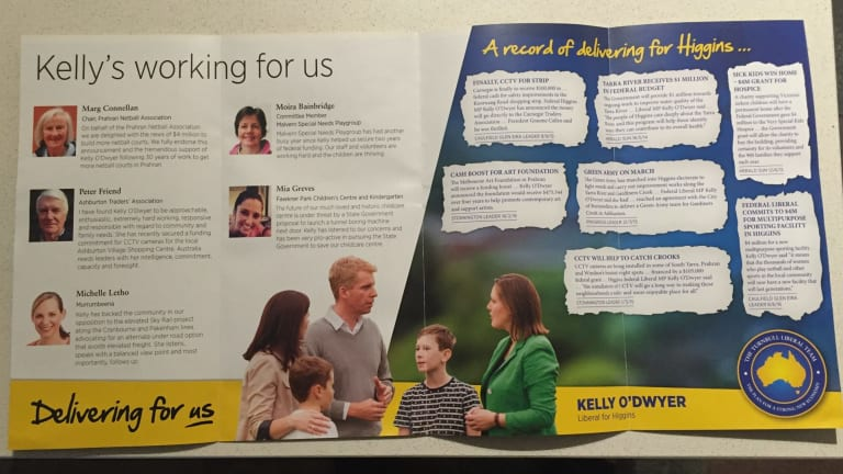 """The """"fake family"""" that features in the Liberal brochure promoting Kelly O'Dwyer in Higgins."""