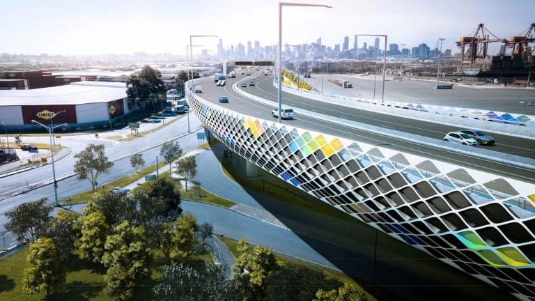 The new elevated freeway to run above Footscray Road.