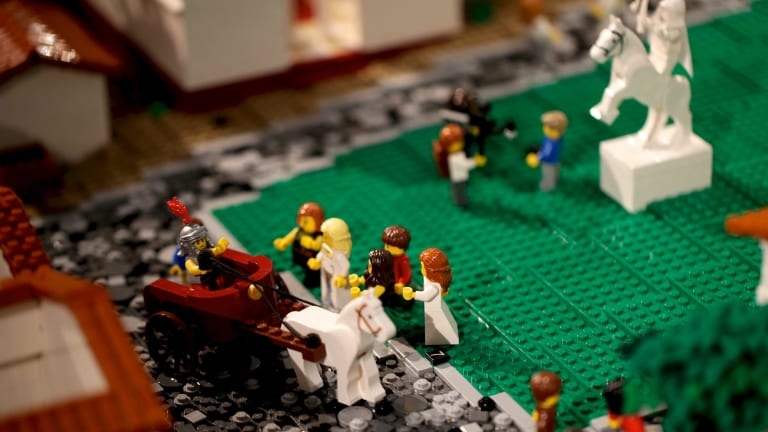 Chariots of fire: A scene from Lego Pompeii.