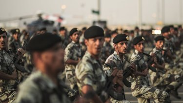 Saudi security forces take part in a military parade in preparation for the annual Hajj pilgrimage in Mecca, Saudi Arabia, in September.