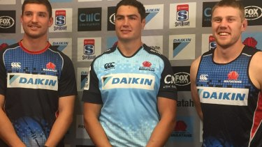 Senior figure: Rob Simmons, centre, is aiming to have a major impact with the Waratahs.