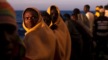 Refugees making the crossing from Libya to Europe.