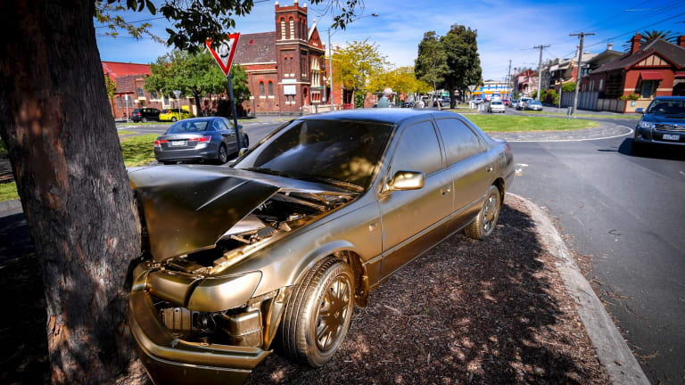 The gold car in North Fitzroy.
