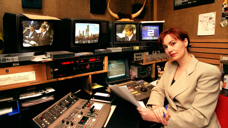 Jill Singer in 1996, in the control room of Channel Seven's Today Tonight.