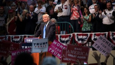 'Maybe an appetite for authoritarianism created him': Donald Trump in North Carolina this week.
