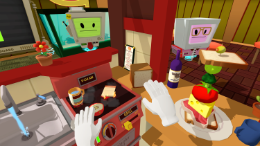 Even making a sandwich is anarchic fun in <i>Job Simulator</i>. Of course it doesn't count as a sandwich unless there's an olive on top.