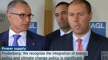 The scene when Josh Frydenberg's press conference in South Australia was crashed by state Premier Jay Weatherill.