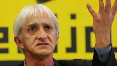 Dragan Vasiljkovic gestures at a press conference in Belgrade in 2005  when he denied an Australian reprot that said he was implicated in the torture and rape of Muslims during the Bosnian war.