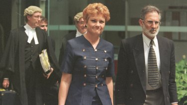 Pauline Hanson leaves the Brisbane Supreme Court in September 1998 after the court rejected an ABC appeal against an injunction preventing it from playing the Pauline Pantsdown song 'Backdoor man'.