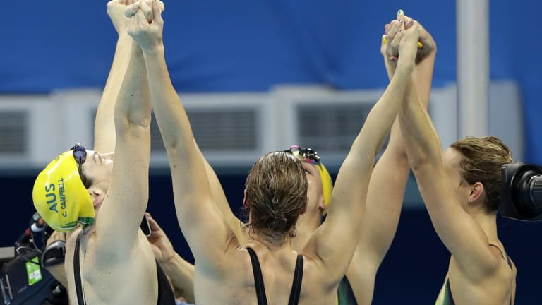 Golden girls: Cate Campbell, Bronte Campbell, Emma McKeon and Brittany Elmslie celebrate.