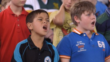Kyh (left) lets rip during rehearsals for the Moorambilla Voices choir in the documentary <i>Wide Open Sky</i>.