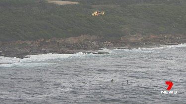 The Westpac Rescue Helicopter searches off Maroubra Beach.