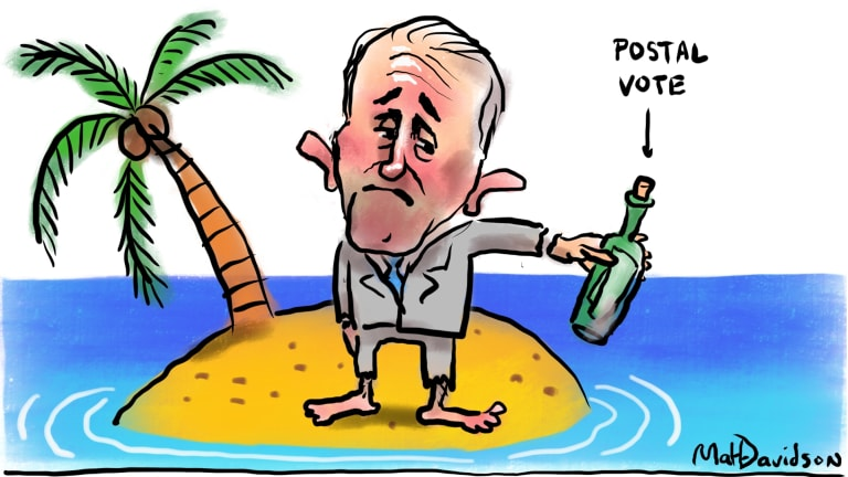 All at sea. Does Turnbull have any idea how out of touch he is by suggesting a postal vote for same-sex marriage? Artist: Matt Davidson