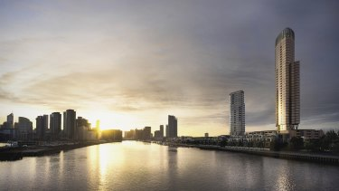 Artist's impressions of Mirvac's latest high-rise residential project, Voyager, at Yarra's Edge in Melbourne.