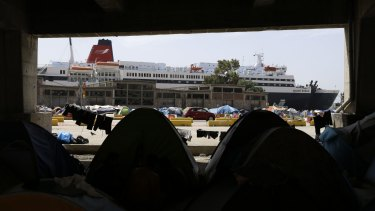 The tents of migrants at the Athens port of Piraeus.