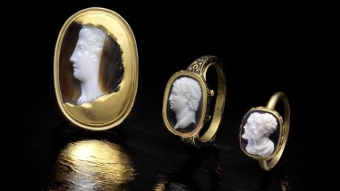 From left: A Sardonyx cameo of a lady Roman, 1st to 2nd Century AD; a Renaissance revival gold, enamel and agate cameo ring depicting Brutus, mid-late 19th Century; a 16th-17th century double portrait agate cameo.
