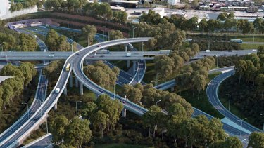 The St Peters Interchange that will make up part of Westconnex, shown here in an artist's impression.
